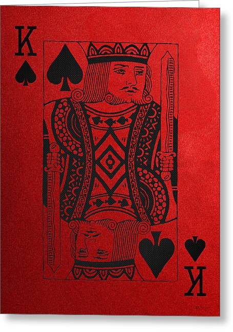Playing Cards Greeting Cards - King of Spades in Black on Red Canvas   Greeting Card by Serge Averbukh