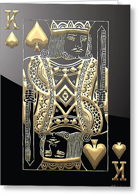 Playing Cards Greeting Cards - King of Spades in Gold on Black   Greeting Card by Serge Averbukh