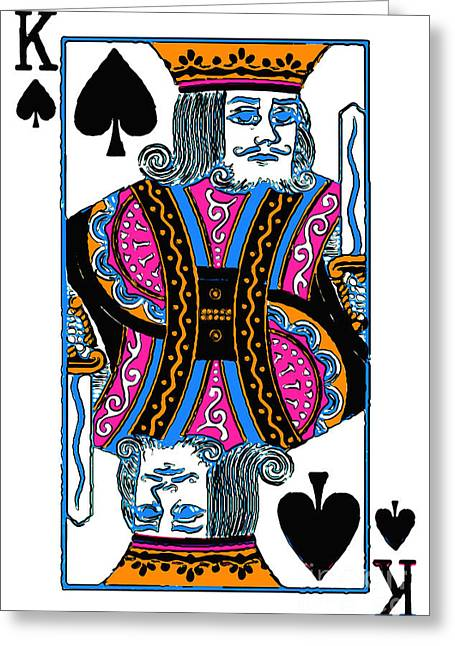 Playing Cards Digital Art Greeting Cards - King of Spades - v3 Greeting Card by Wingsdomain Art and Photography