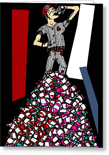 Baseball Uniform Drawings Greeting Cards - King of the Mountain Greeting Card by Casey P
