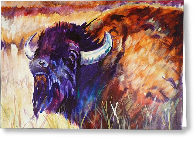 The American Buffalo Paintings Greeting Cards - King of the Plains Greeting Card by P Maure Bausch