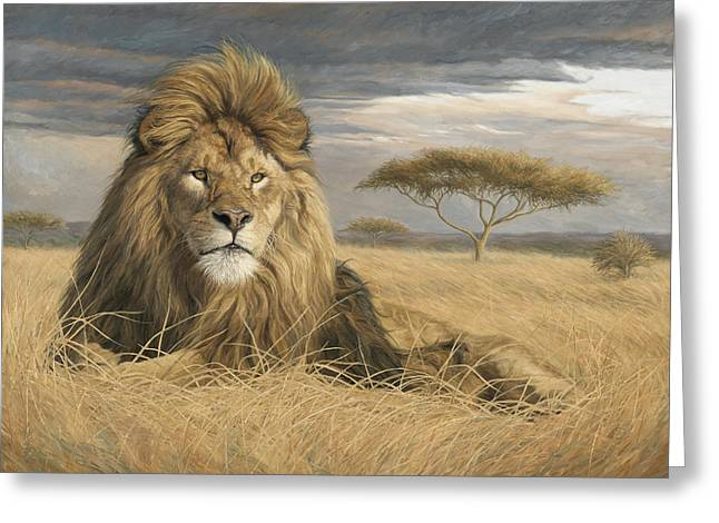 Wild Life Greeting Cards - King Of The Pride Greeting Card by Lucie Bilodeau