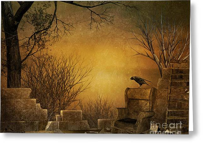 Bare Trees Mixed Media Greeting Cards - King of The Ruins Greeting Card by Bedros Awak