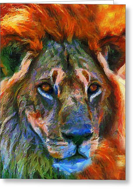 Lions Greeting Cards - King Of The Wilderness Greeting Card by Georgiana Romanovna