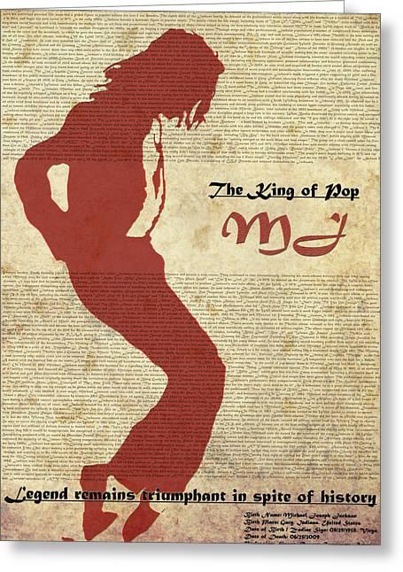 Lyrist Greeting Cards - King Of Pop- MJ- Viators Agonism Greeting Card by Vijinder Singh