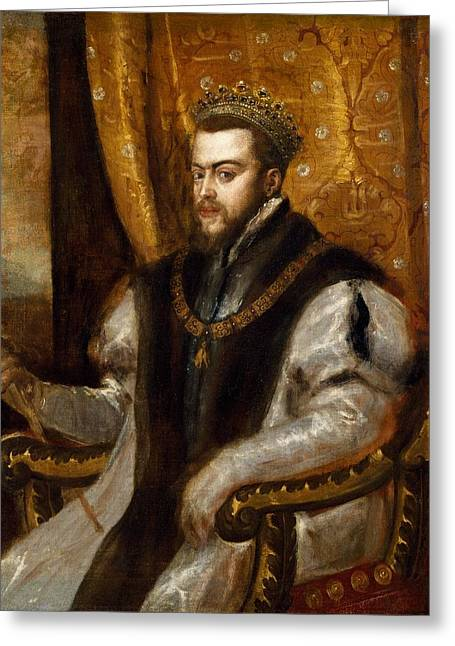 Royalty Greeting Cards - King Philip Ii Of Spain, C.1550-51 Oil On Canvas Greeting Card by Titian