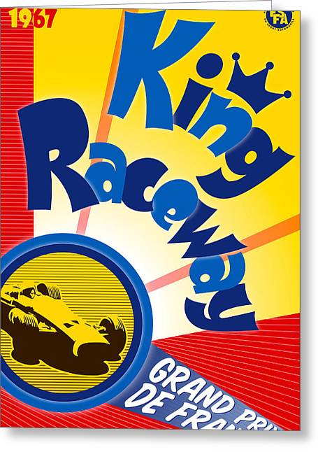 Rally Greeting Cards - King Raceway Grand Prix de France 1967 Greeting Card by Nomad Art And  Design