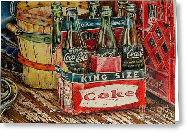 Sized Drawings Greeting Cards - King size cokes Greeting Card by Jackie Bryant