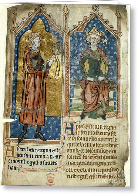 Miscellaneous Greeting Cards - King Stephen And King Henry Ii Greeting Card by British Library