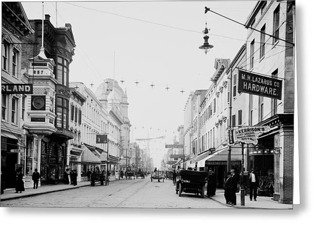 King Street In Charleston South Carolina Circa 1910 Greeting Card by Mountain Dreams