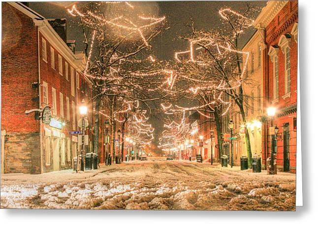 Snowy Night Greeting Cards - King Street Greeting Card by JC Findley