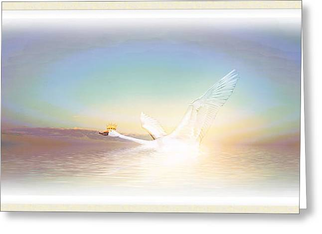Swan Fantasy Art Greeting Cards - King Swan Greeting Card by Harald Dastis