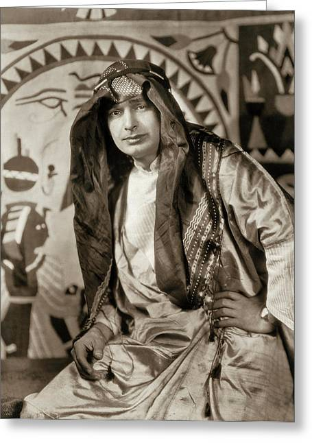 King Tut Scholar Bishara Nahas Greeting Card by Underwood Archives