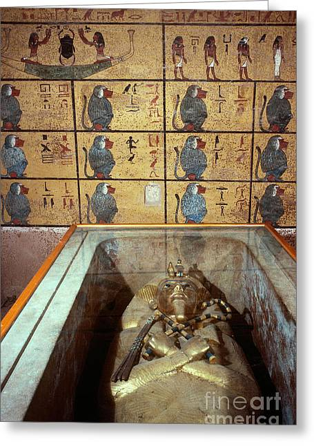 Pharaoh Greeting Cards - King Tutankhamuns Tomb Greeting Card by John G. Ross