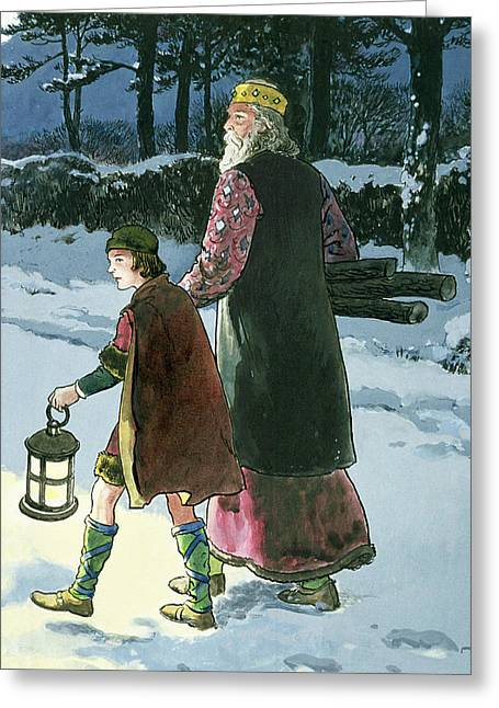 Winter Night Drawings Greeting Cards - King Wenceslas From Peeps Greeting Card by Trelleek