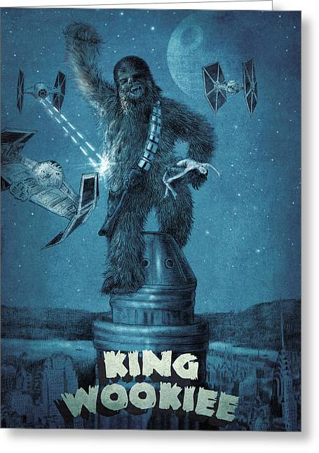 New York City Drawings Greeting Cards - King Wookiee Greeting Card by Eric Fan