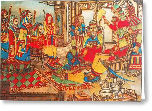 Indian Art Greeting Cards - KingAugustus Greeting Card by Bhanu Dudhat