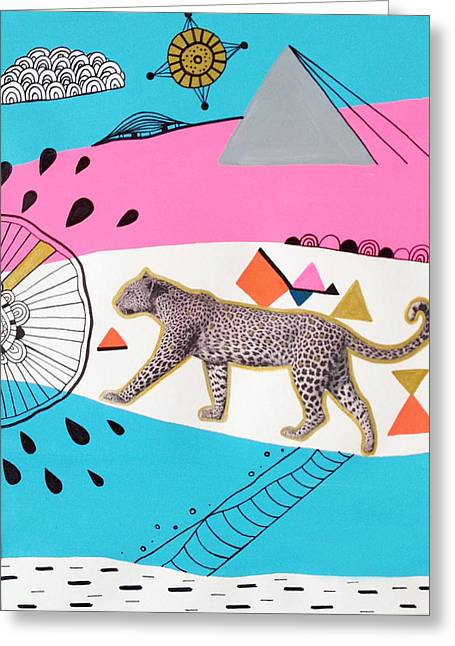 Geometric Animal Greeting Cards - Kingdom Prowl Greeting Card by Susan Claire