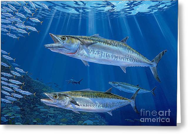 Scuba Diving Paintings Greeting Cards - Kingfish Reef Greeting Card by Carey Chen