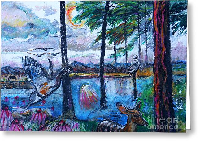 Pastel Mountains Metal Prints Greeting Cards - Kingfisher and Deer In Landscape Greeting Card by Stan Esson