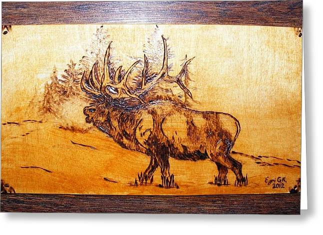 Cabin Wall Pyrography Greeting Cards - Kingof forest-wood pyrography Greeting Card by Egri George-Christian