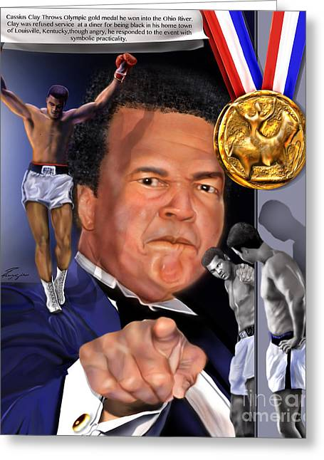 Weights Paintings Greeting Cards - Kings Among Men - Ali - The Greatest Love Greeting Card by Reggie Duffie