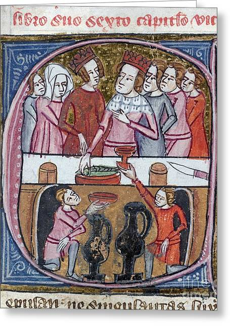 1300s Greeting Cards - Kings And Queens Feasting, Artwork Greeting Card by British Library