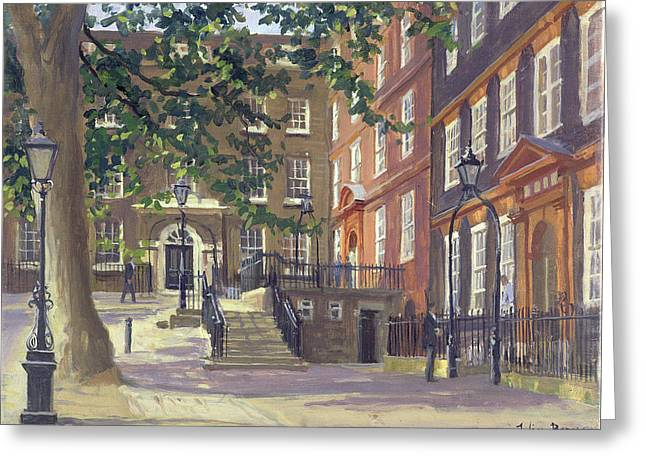 Barrister Greeting Cards - Kings Bench Walk, Inner Temple Oil On Canvas Greeting Card by Julian Barrow