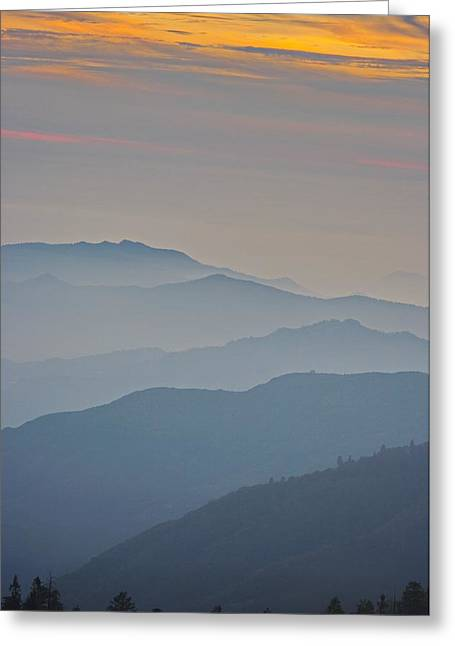 Vale Greeting Cards - Kings Canyon Sunset Colors Greeting Card by Raana Arts