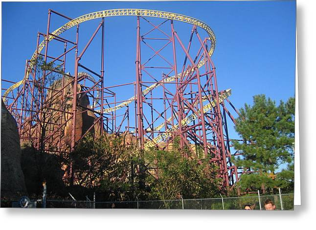 Volcano Greeting Cards - Kings Dominion - Volcano - 01133 Greeting Card by DC Photographer