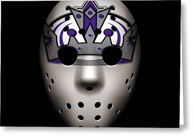 King Greeting Cards - Kings Goalie Mask Greeting Card by Joe Hamilton
