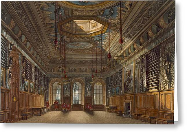 Weaponry Greeting Cards - Kings Guard Chamber, Windsor Castle Greeting Card by Charles Wild
