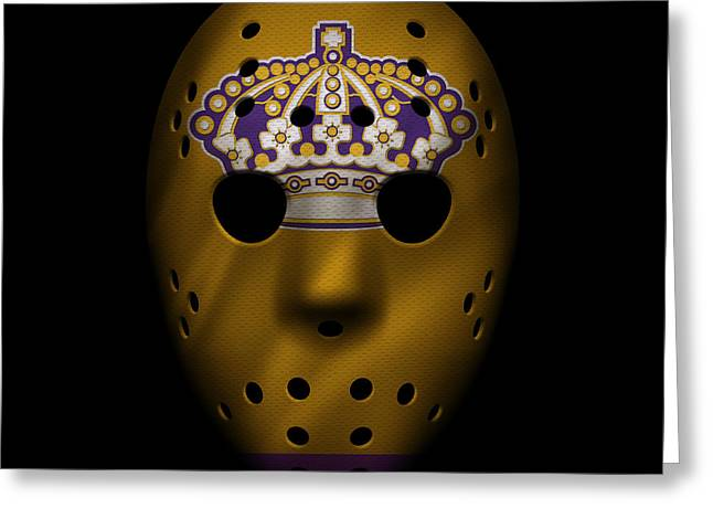 Los Angeles Kings Greeting Cards - Kings Jersey Mask Greeting Card by Joe Hamilton