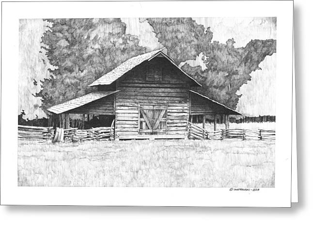 Barn Pen And Ink Greeting Cards - Kings Mountain Barn Greeting Card by Paul Shafranski