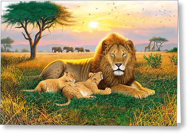 Cats Photographs Greeting Cards - Kings Of The Serengeti Greeting Card by Chris Heitt