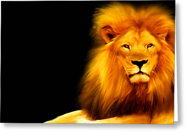 Wildcat Greeting Cards - Kings Portrait Greeting Card by Lourry Legarde