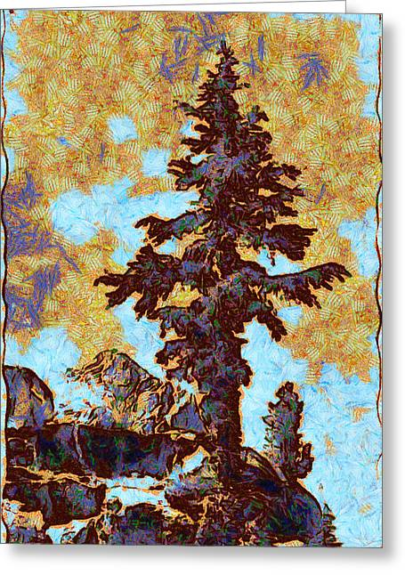 Kings River Canyon Colorized Greeting Card by Ansel Adams