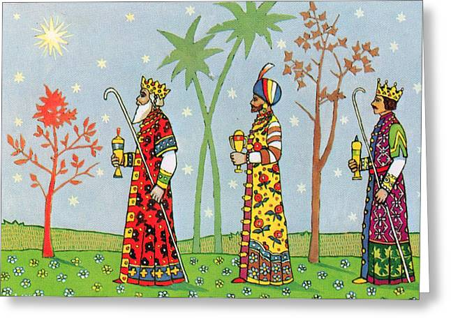 Cards Vintage Greeting Cards - Kings with Gifts Greeting Card by Munir Alawi