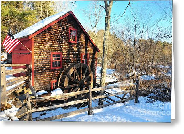 Catherine Wheel Greeting Cards - Kingsbury Grist Mill Greeting Card by Catherine Reusch  Daley