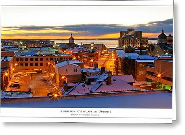 Kingston Cityscape At Sunrise Greeting Card by Paul Wash