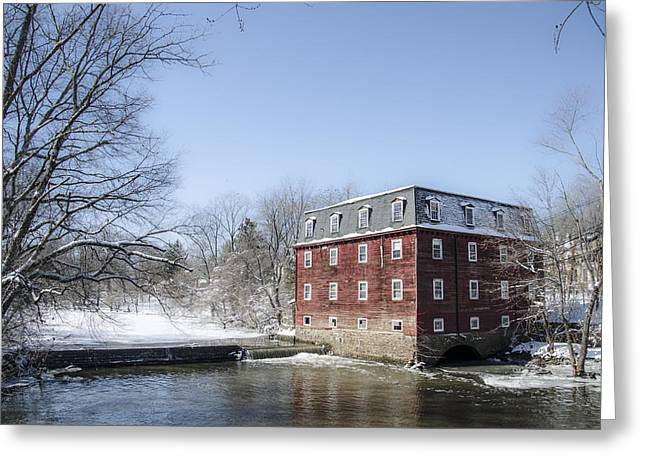 Kingston Greeting Cards - Kingston Mill in Winter - Princeton New Jersey Greeting Card by Bill Cannon
