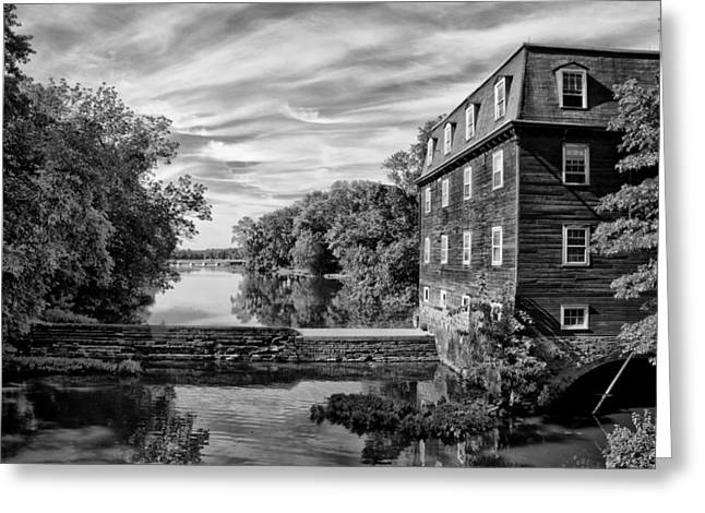 Kingston Greeting Cards - Kingston Mill - Princeton NJ in Black and White Greeting Card by Bill Cannon