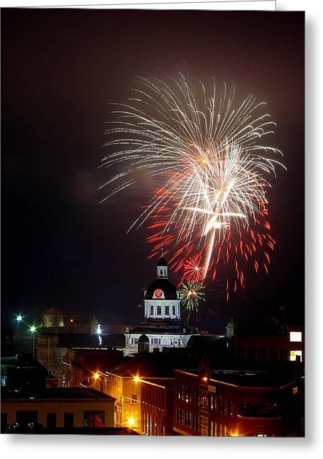 Kingston City Hall Greeting Cards - Kingston New Years Eve Fireworks Greeting Card by Paul Wash