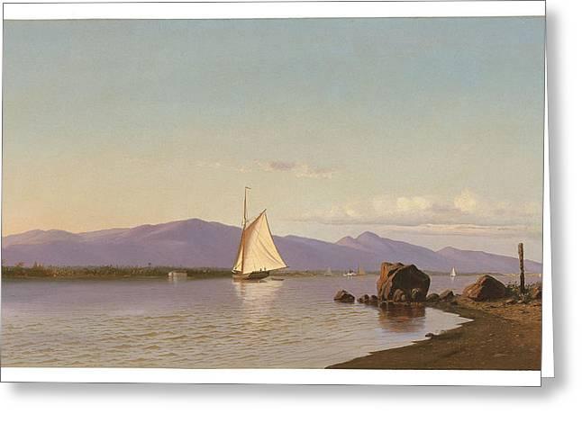 Kingston Paintings Greeting Cards - Kingston Point Hudson River Greeting Card by Francis Augustus Silva
