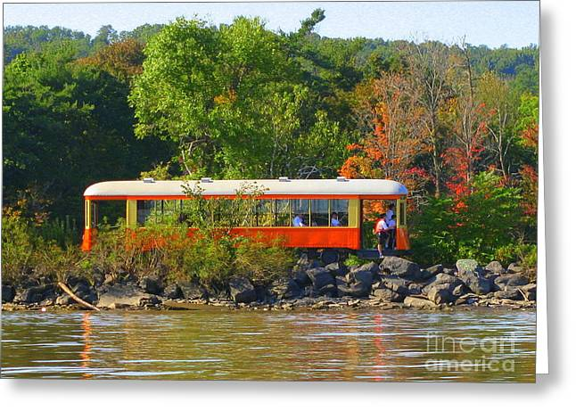 Kingston Greeting Cards - Kingston Point Trolley Greeting Card by Maxine Kamin