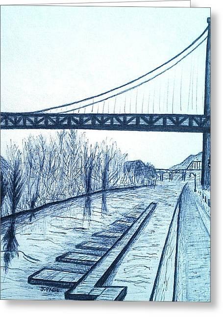 Kingston Greeting Cards - Kingston - Port Ewen Bridge 2 Greeting Card by Jason Page