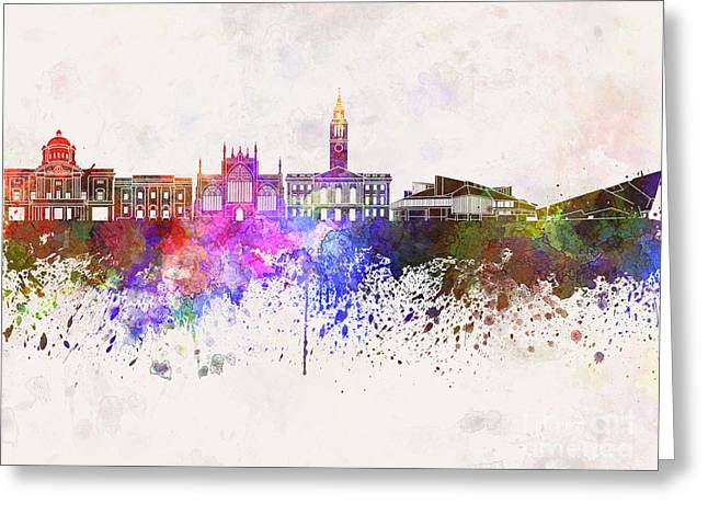 Kingston Greeting Cards - Kingston Upon Hull skyline in watercolor background Greeting Card by Pablo Romero