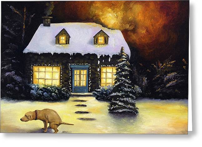 Xmas Paintings Greeting Cards - Kinkades Worst Nightmare Greeting Card by Leah Saulnier The Painting Maniac