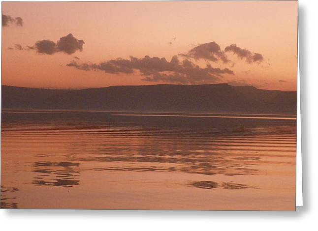 Noreen Hacohen Greeting Cards - Kinneret Ripples at Dusk Greeting Card by Noreen HaCohen