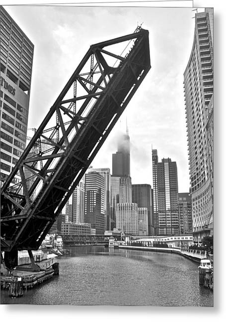 New York Tribune Greeting Cards - Kinzie Street Bridge Greeting Card by Frozen in Time Fine Art Photography